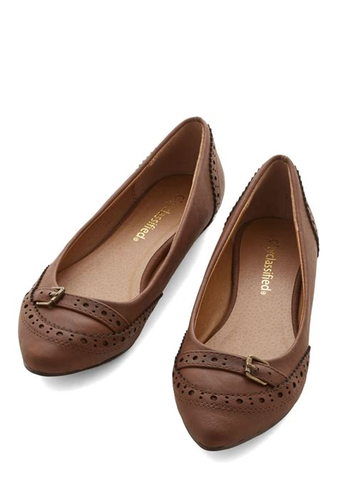 flat shoes brown unmatched charm flat in brown mod retro vintage flats