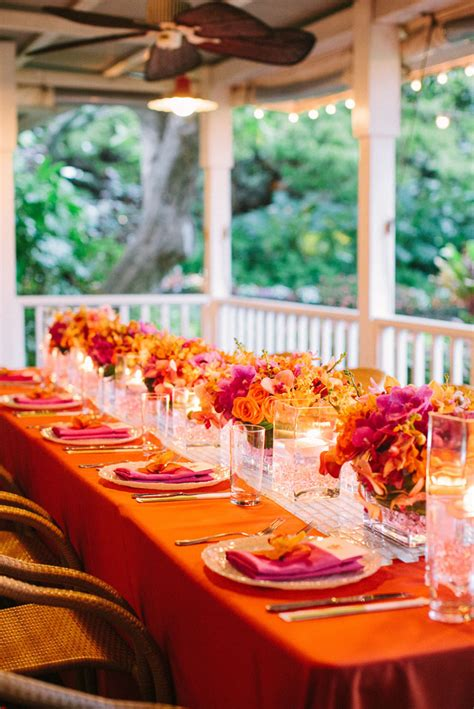 orange and turquoise tablescape turquoise with orange claire and jings dream of a joyous hawaiian celebration