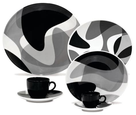 Mirrors Home Decor by Karim Rashid Loop Line 20 Pc Set Modern Dinnerware