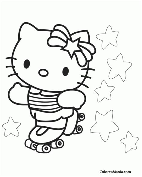 imagenes para colorear rueda colorear kitty patina sobre ruedas hello kitty dibujo