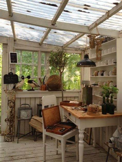 potting shed interior with rustic country design idea serre inrichten interieur insider