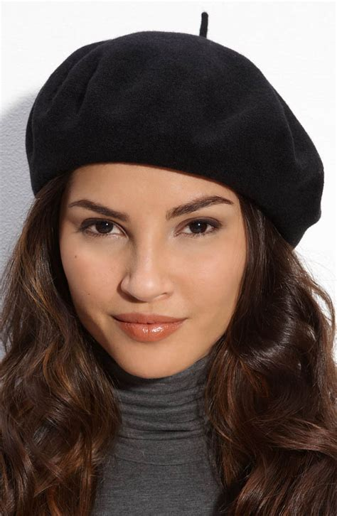 laundry by shelli segal knit beret with woven suede trim