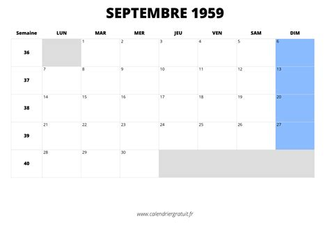 Calendrier De 1959 Calendrier De Septembre 1959 224 Imprimer