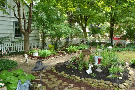 Shady Backyard Landscape Ideas Shady For Grass Hamburg Yard Is Filled With Gardens Paths Curios Buffalo