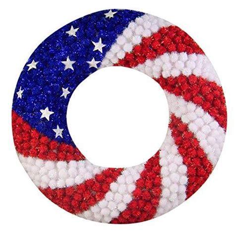 red white  blue glitter pom pom   july wreath patriotic decorations  wreaths