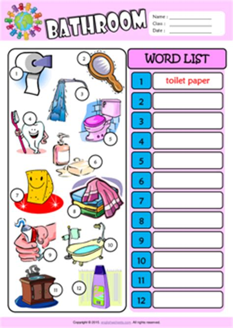 words for the bathroom bathroom esl printable worksheets for kids 3