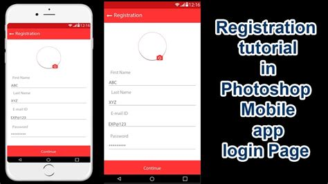 tutorial web page development registration ui design tutorial in photoshop mobile app