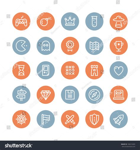 design icon game flat design line icons set modern stock vector 188315405