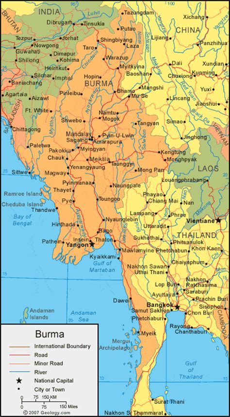 political map of myanmar burma map and satellite image