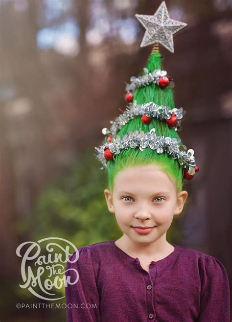 christmas tree hairstyle for girls hair day ideas hair tree and moon photography