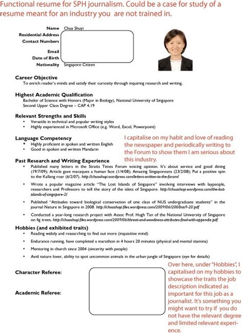 singapore curriculum vitae sle resume template singapore resume sle