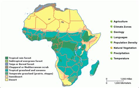 africa map vegetation zones grolier atlas