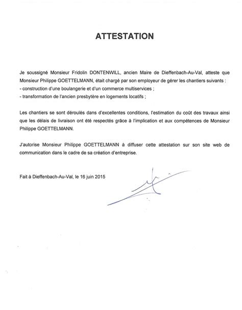 Attestation La Letter Attestation Employeur