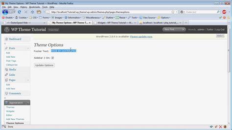 wordpress tutorial add menu page wordpress theme tutorial part 8b adding a theme options