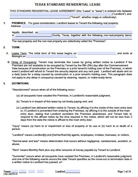 standard lease agreements standard residential lease agreement doc