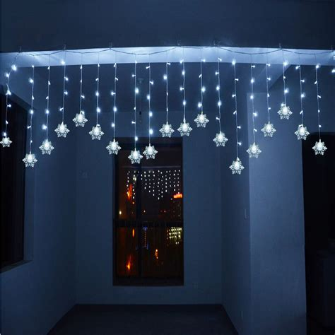 snowfall curtain lights 3m 1m 150led snowflake icicle snowfall window corridor
