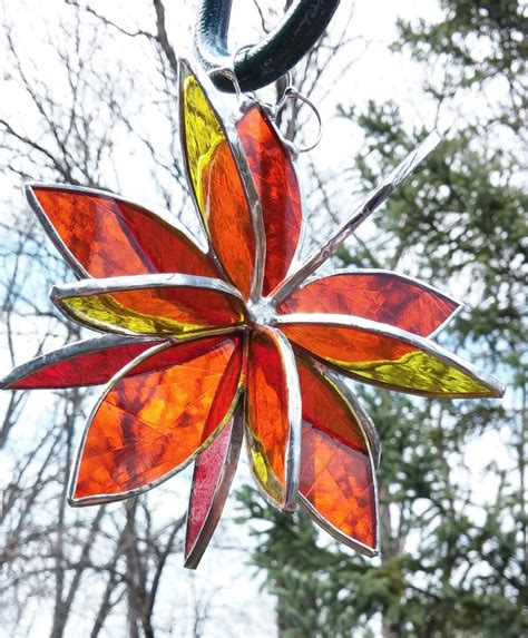 stained glass l stained glass 3d flower twirl orange red yellow garden art
