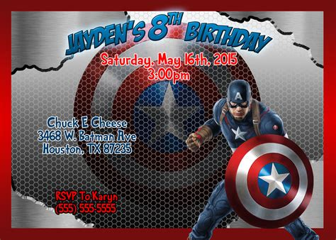 Captain America Birthday Card Template by Captain America Birthday Invitations Kustom Kreations