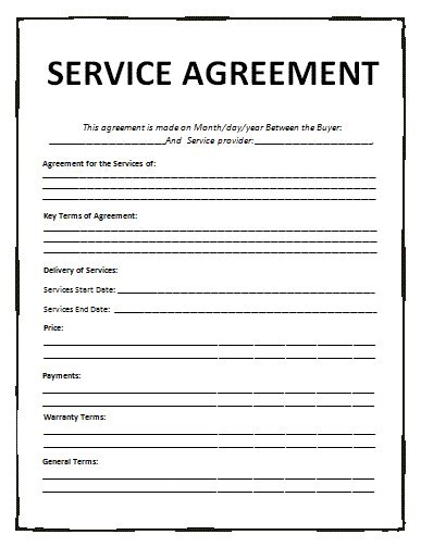 Agreement Template general contract for services template free printable