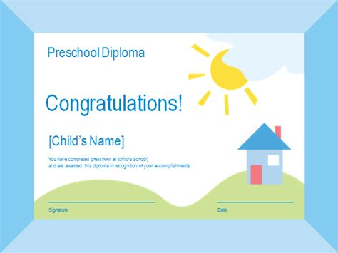 templates certificates preschool diploma academic award