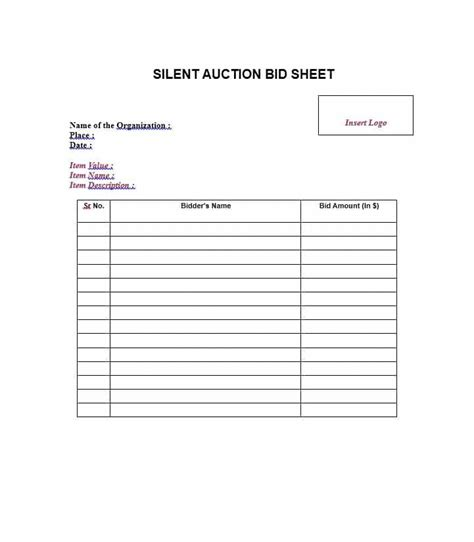 Bid Sheet Template by 40 Silent Auction Bid Sheet Templates Word Excel
