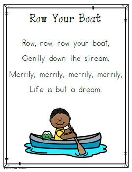 row your boat kindergarten nursery rhyme posters and mini books row your boat by