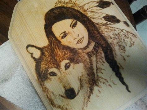 native american girl  wolf pyrography pinterest