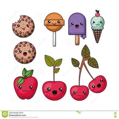 imagenes kawaii de comida chatarra fije el dise 241 o aislado comida del icono del estilo del