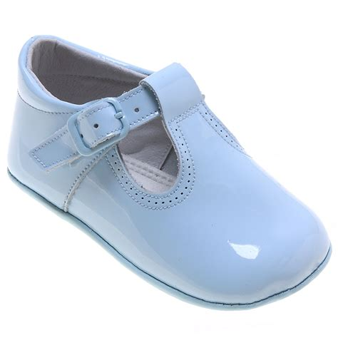 the with the shoes baby t bar blue patent pram shoes with buckle fastening