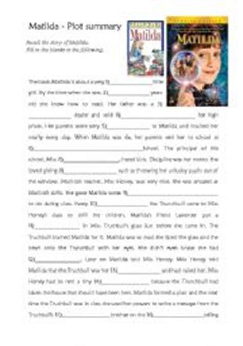 matilda book report worksheet matilda plot summary