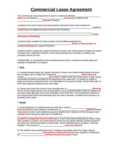 commercial agreement template commercial lease agreement template free create