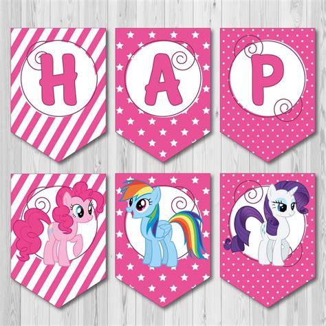 printable birthday banner my little pony pink happy birthday printable banner from my little pony