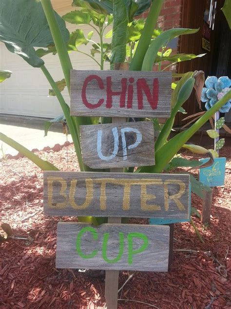 Landscape Yard Signs Yard Sign Flower Garden Sign Lawn Ornament Chin Up Butter