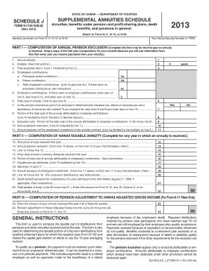 schedule j supplemental annuities fillable clear form state of hawaii department of