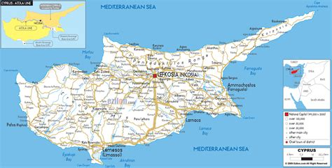 Small American Towns by Detailed Clear Large Road Map Of Cyprus Ezilon Map