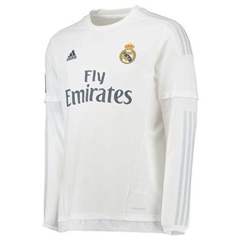 Jersey Real Madrid Home 1516 Sleeve real madrid home 15 16 sleeve replica soccer jersey white clear grey real madrid