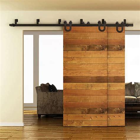 bypass barn doors winsoon 5 16ft bypass sliding barn door hardware track kit new u shape