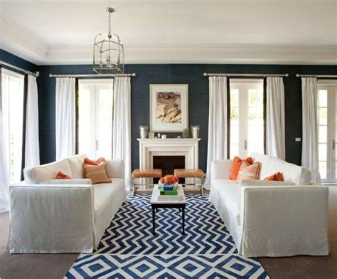 Blue Living Room Orange Accents Fab Color Combo Navy And White