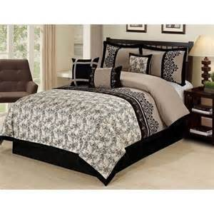 black and beige comforter set new queen king bed beige black tan embroidered floral