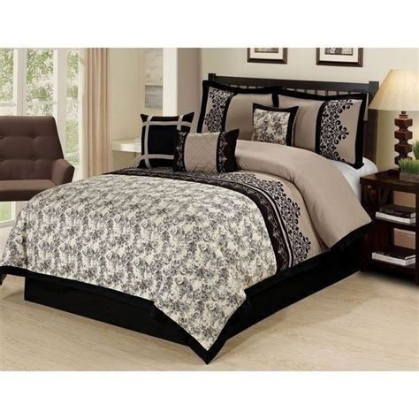 black and tan bedding new queen king bed beige black tan embroidered floral damask 7 pc comforter set ebay