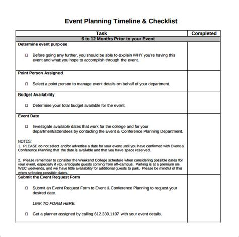 event checklist templates okl mindsprout co