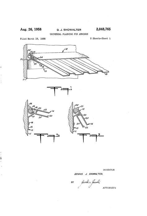 awning flashing patent us2848765 universal flashing for awnings google patents