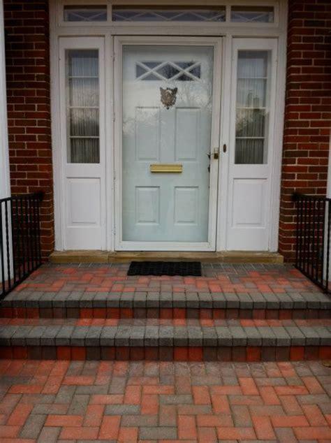 brick steps front patio  unilock hollandstone pavers