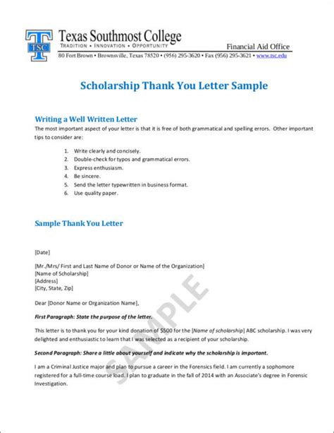 Thank You Letter For Nursing Scholarship scholarship thank you letter sle 12 scholarship thank