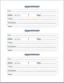 Appointment Card Template by Doc 600730 Appointment Slip Template Sle