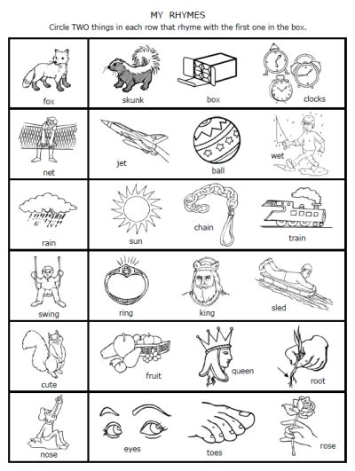 rhymes worksheets for prek 1 fran s freebies