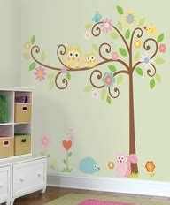 church nursery trees and pastel colors on