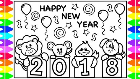 new year 2018 coloring pages coloring for happy new year 2018 coloring book