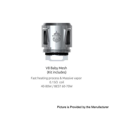 Authentic Smok V8 Baby T8 0 15 Ohm Untuk Tfv8 Baby 5pcs authentic smok v8 baby mesh 0 15ohm coil for tfv12 baby prince tank