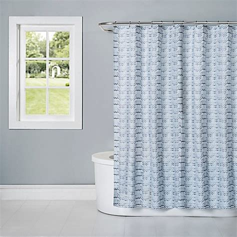 Cotton Fabric Shower Curtains Watercolor Cotton Fabric Shower Curtain In Aquatic Blue Bed Bath Beyond